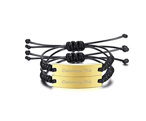VNOX Personlized Bridesmaid Friendship Braided Rope Gold Plated Stainless Steel ID Adjustable Bracelet Set for 2