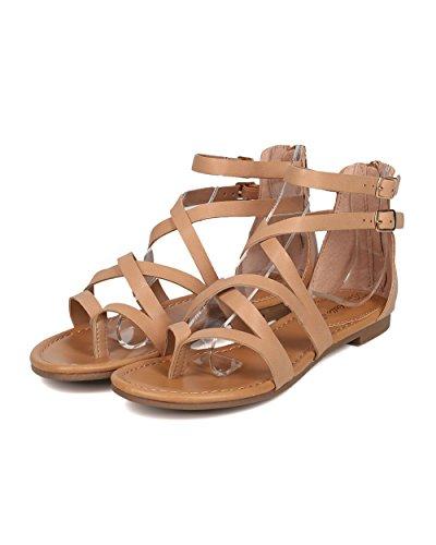 Breckelles Vrouwen Criss Cross Gladiator Sandaal - Casual, Kostuum, Meisjes Night - Strappy Platte Sandaal - Gg54 By Natural