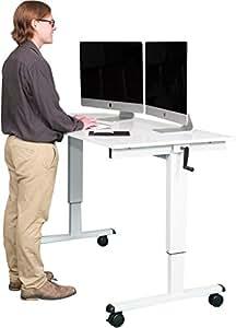 "60"" Crank Adjustable Height Standing Desk (White Frame / Gloss White Top)"