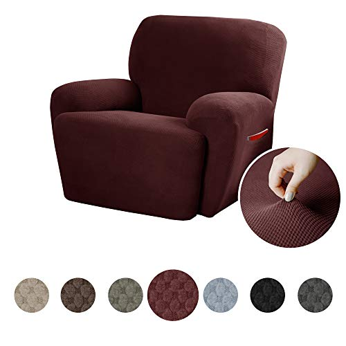 MAYTEX Pixel Ultra Soft Stretch 4 Piece Recliner Arm Chair Furniture Cover Slipcover with Side Pocket, Wine Red