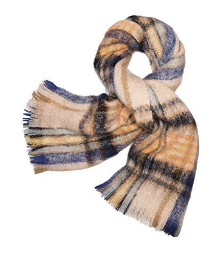 Tory Burch Women's Brushed Shetland Plaid Merino Wool Rectangle Scarf (Natural/Multi)