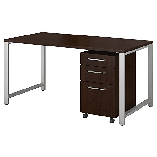 Bush Business Furniture 400 Series 60W x 30D Table Desk with 3 Drawer Mobile File Cabinet in Mocha Cherry (Roll Off Levelers)