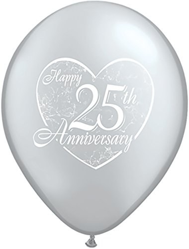 Pioneer Balloon Company 37184 037184 Happy 25th Anniversary Heart - Silver 11