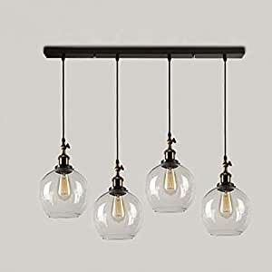 SUSUO Lighting 4-Lights Retro Country Style Clear Glass Island ...