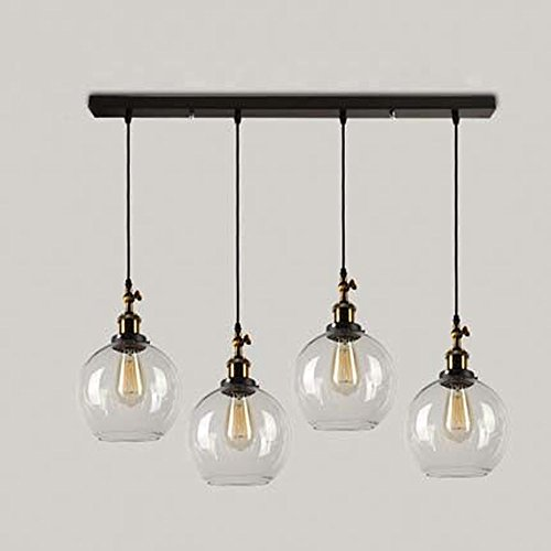 Susuo Lighting 4 Lights Retro Country Style Clear Glass