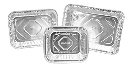 KitchenDance Combo Pack of Disposable Meal Prep/Take out/Food Saver Pans.1 pound- 1-1/2 pound & 2-1/4 Pound- 10 of each with choice of lids (Board Lids) 1 to 2 Person Size pans