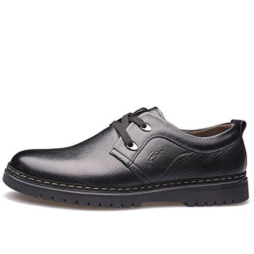 GRRONG Zapatos De Cuero De Los Hombres Del Ocio Del Cuero Genuino Negro Marrón Black