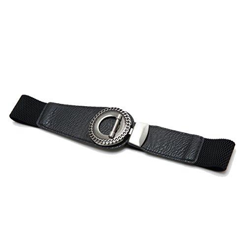 erlock Buckle Womens Elastic Waist Belt Cinch (Small, Black) (Interlock Buckle)