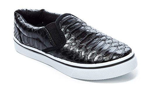 Alligator Skin (Pink Label Girl's Slip-On Alligator Skin Sneaker in Black Size: 3)
