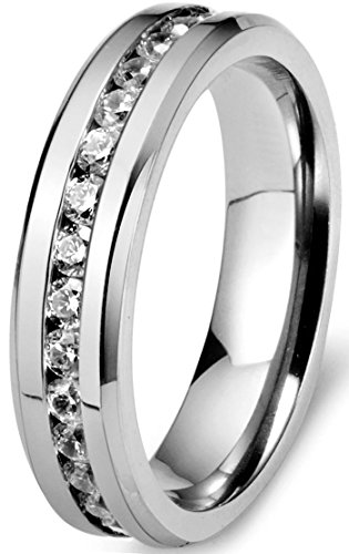 Womens Titanium Engagement Wedding Zirconia