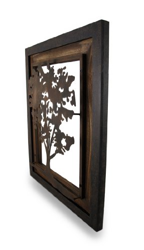 Metal Aged Finish Tree Silhouette On Wood Frame Wall