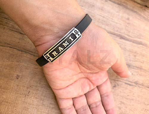 (Personalized Solid Silver Egyptian Cartouche In Leather Bracelet - Made By AYALZ (Up To 8 Letters))