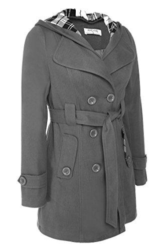 ANGVNS Abrigo de paño con cinturón, capucha y doble botonadura de mujer Gris