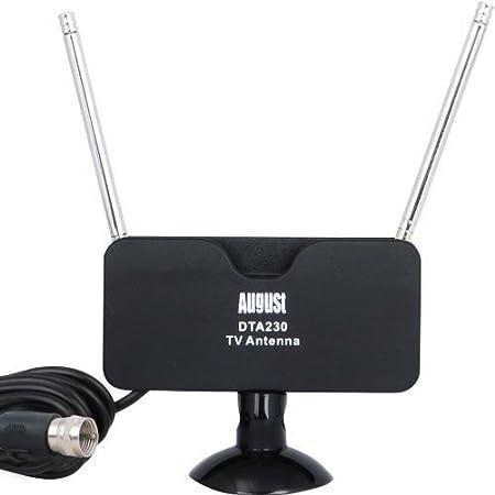 August DTA230 Antena TDT (Televisión Digital Terrestre) – Antena Interior/Exterior para Receptor TDT USB/Televisión DVB-T/Radio DAB – Base Ventosa