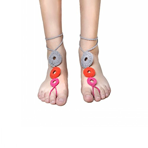 Reed Rosette (2 Pieces Women's Foot Chain Barefoot Sandals Foot Jewelry Toe Ring Elegant Design)