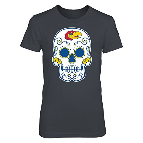 Kansas Jayhawks - Sugar Skull - District Women's Premium T-Shirt - Officially Licensed Fashion Sports Apparel