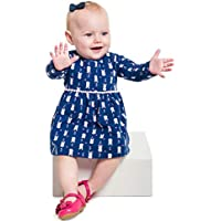 Vestido Manga Longa Bebê Menina Marinho - Brandili