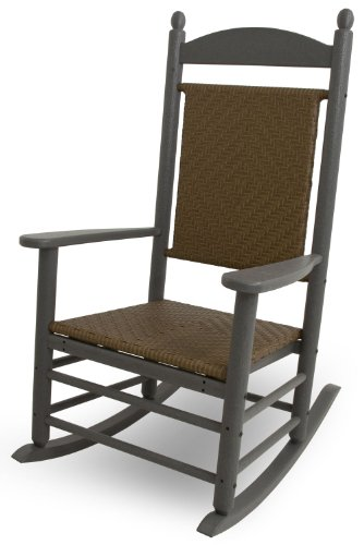 (POLYWOOD K147FGYTW Jefferson Woven Rocker, Slate Grey/Tigerwood)