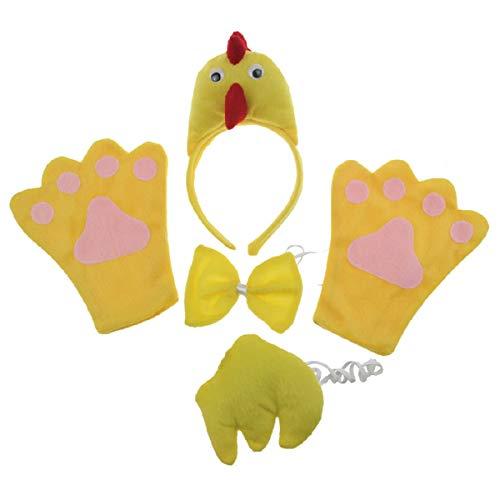 Hen 4pc Children Costume Kids Cosplay Headband Bowtie Tail Gloves]()