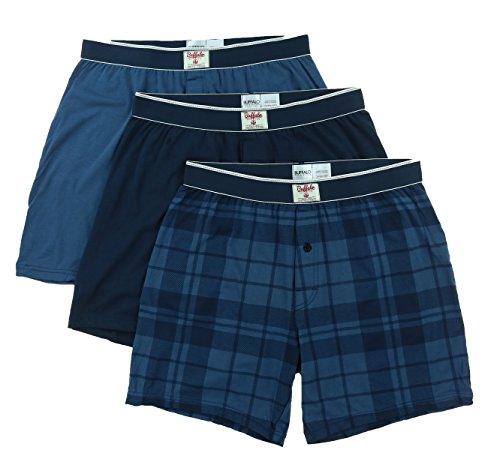 Buffalo Men's Knit Boxers (Blue/Navy/Plaid, Medium)