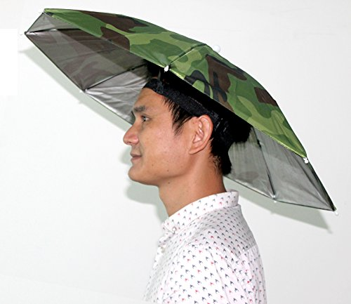 Amazon.com: Camouflage Pattern Sun Rain Umbrella Hat Cap for Fishing Hiking Beach Camping Outdoor Activities Elastic Headband Camouflage Pattern Sun Rain ...