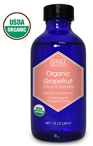 Zongle USDA Certified Organic Grapefruit Essential Oil, Safe to Ingest, Citrus X Paradisi, 1 oz (Grapefruit Organic Pure Oil Essential)