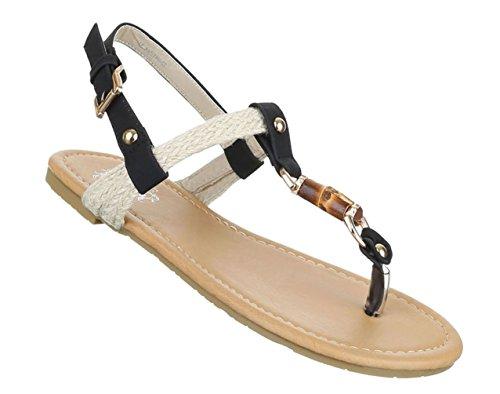 Damen Sandalen Schuhe Sommerschuhe Strandschuhe Zehentrenner Schwarz 37 AxrPk10iPM