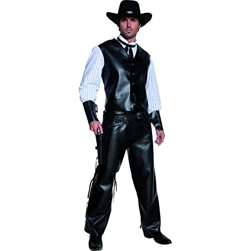 Smiffy's Men's Authentic Western Gunslinger Costume, Vest with Faux Shirt, Chaps and Dicky Bow, Western, Serious Fun, Size M, (Halloween Costumes Cowboy)