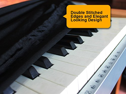 Piano Keyboard Dust Cover for 88 Keys - Made of Nylon / Spandex - Comes Complete with Built-In Bag, Elastic Cord and - Locking Clasp - Keep It Free From Dust and Dirt!