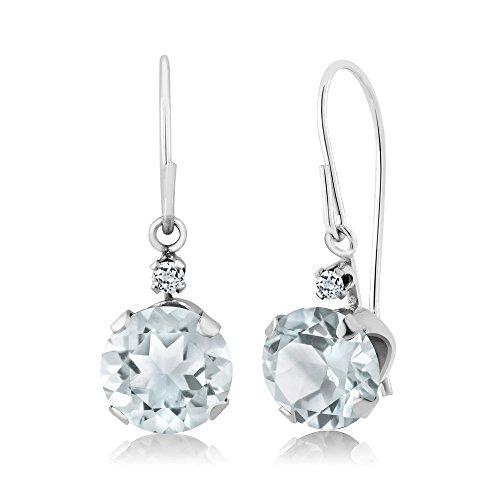 Gem Stone King 1.54 Ct Round Sky Blue Aquamarine White Topaz 14K White Gold Earrings
