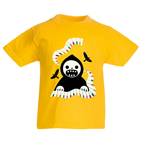 T Shirts for Kids Halloween Horror Nights - The Death is Playing on Piano - Cool Scarry Design (9-11 Years Yellow Multi Color) ()