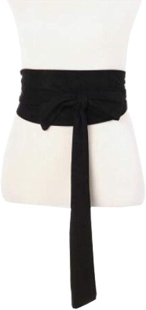 Womens Micro suede Waist Belt Obi Waist Band Wide Boho Band Self Tie Wrap Corset Black