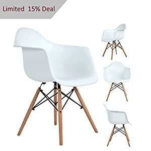 Dorafair Modern Eames Style Dining Armchairs Set Of 4 Eiffel Plastic Lounge  Chair With Natural Wood