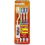 Signal - Cepillos de dientes manuales, dureza media, Pack de 4 cepillos