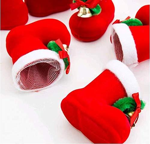 tia-ve Christmas Candy stivali mini caramelle dolci regali borsa portaoggetti con fiocco Jingle Bell Natale ornamenti Decor