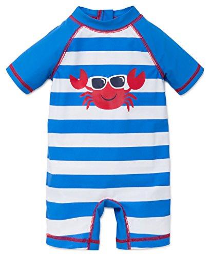 Little Me Baby Boys' Short Sleeve Rashguard Suit, Blue, 6/9 Months (Suits For Baby)