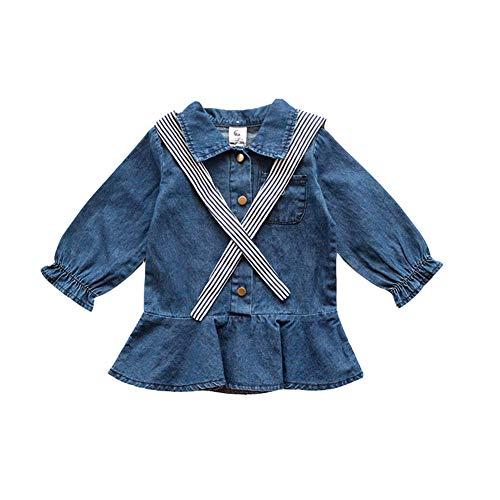 - Mornyray Infant Toddler Girls Onesies Shirt Collar Short Dress Denim Pleated Skirt Size 110 (Blue)