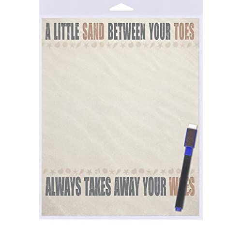 """(SJT40910) A Little Sand In Your Toes Always Takes Away Your Woes Dry Erase Memo Board 8"""" x 10"""""""