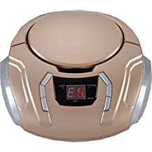 Sylvania Portable CD Boombox with AM/FM Radio (Champagne) by Sylvania