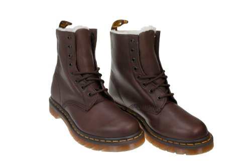 Dr. Martens Serena Womens Dark Brown Leather Fur Shearling Ankle Boots - 42