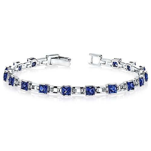 6.00 Carats Princess Cut Created Sapphire Bracelet Sterling Silver Rhodium Nickel Finish