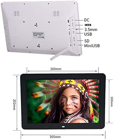 Multifunction Digital Picture Display 1280x800 with Max 32GB Storage USB2.0 Port White UK Plug 16:9 Alician 12inch 1080P HD LED Digital Photo Frame