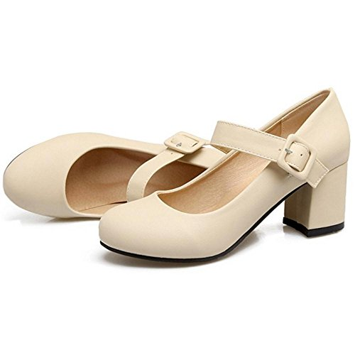 Court Women's Shoes Heel Beige Elegent TAOFFEN dRxqtR
