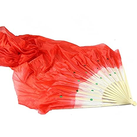 Poity New Colorful Belly Dance Bamboo Long Silk Fans Veils 4 Colors Hand Made Silk Fan Color