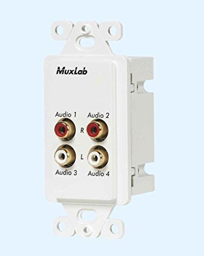 MuxLabs Stereo Audio Balun Wall Plate with dual L/R RCA ()