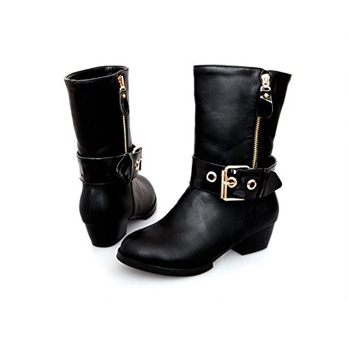 Solid Low PU US with Heels Toe B Womens Plush M Square 10 AmoonyFashion Boots Closed Heels Short Black Round RIzRxUY