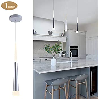 Bewamf Mini Pendant Light Silver Brushed Finish with Acrylic Shade LED  Ajustable Modern Cone Pendant Lighting for Kitchen Island Dining Room Bar  9W ...