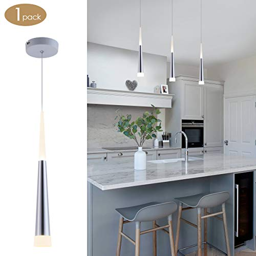 Modern Mini Island Pendant Light with Acrylic Shade LED Adjustable Cone Contemporary Pendant Lighting for Kitchen Island Dining Room Living Room Bar 9W Warm White 3000K Aluminum by Bewamf