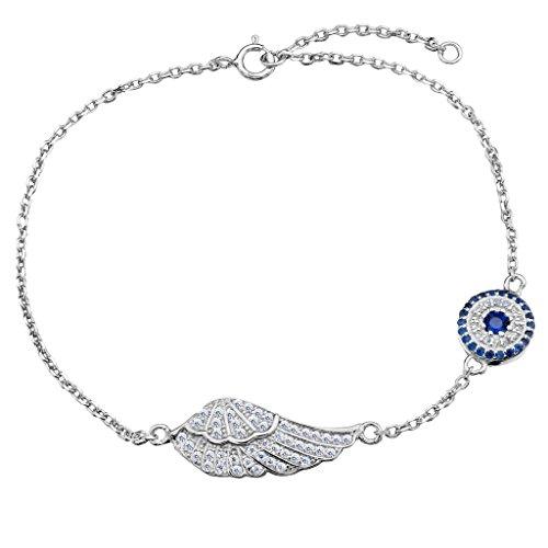 Blue Elegant Bracelets (EVER FAITH 925 Sterling Silver CZ Elegant Angle Wing Feather Blue Evil Eye Link Bracelet Chain Clear)