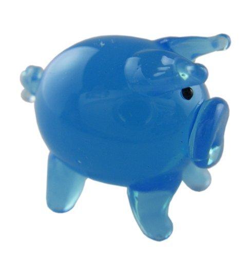 (Miniture Glass Figurines-Glass Figurine Farm Animals - Blue Pig)